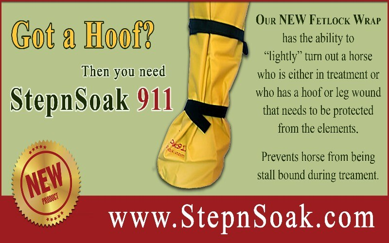 StepnSoak - the first one-piece, self-attaching vinyl hoof soaking boot